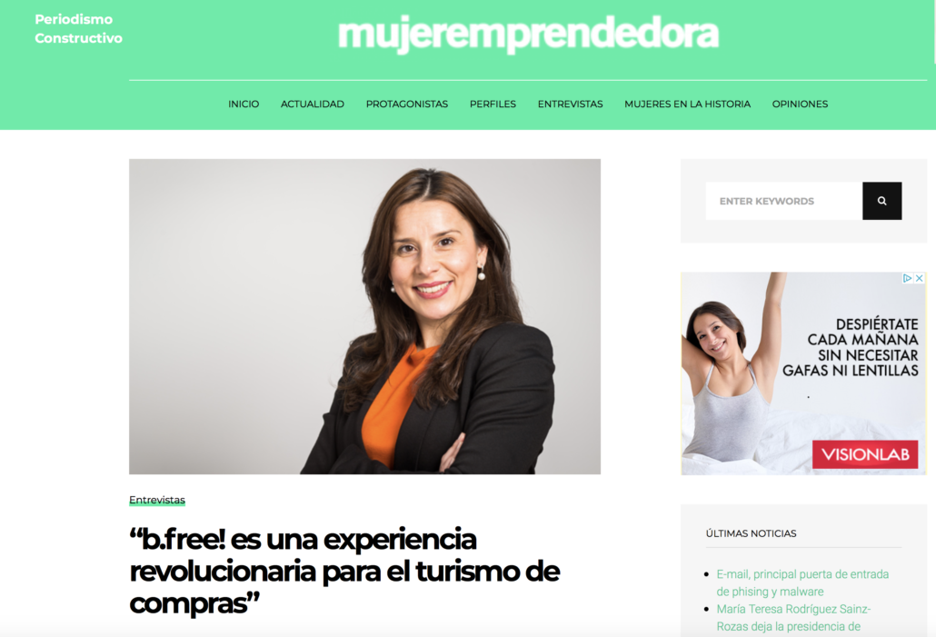 "<a href=""https://www.mujeremprendedora.net/alicia-maniega-b-free-experiencia-revolucionaria-turismo-compras/"" target=""_blank"" rel=""noopener noreferrer""><b>""b.free! es una experiencia revolucionaria para el turismo de compras""</b></a>"